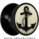 Nautical Anchor Glow in the Dark Saddle Plug in Black Acrylic