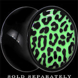 Leopard Print Glow in the Dark Saddle Plug in Black Acrylic