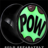 Comic Pow Glow in the Dark Saddle Plug in Black Acrylic