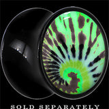 Tie Dye Glow in the Dark Saddle Plug in Black Acrylic