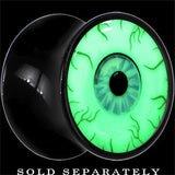 Blood Shot Eye Glow in the Dark Saddle Plug in Black Acrylic