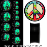 Tie Dyed Peace Sign Glow in the Dark Saddle Plug in Black Acrylic
