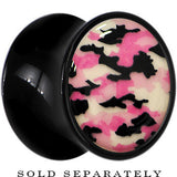 Pink Camouflage Glow in the Dark Saddle Plug in Black Acrylic