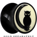 Owl on Moon Glow in the Dark Saddle Plug in Black Acrylic