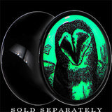 Sketched Owl Glow in the Dark Saddle Plug in Black Acrylic