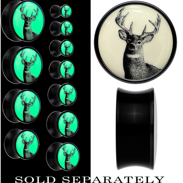 Deer Buck Glow in the Dark Saddle Plug in Black Acrylic