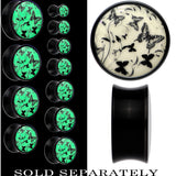 Flight of the Butterflies Glow in the Dark Saddle Plug in Black Acrylic