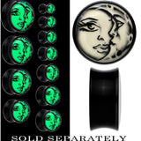 Celestial Sun Moon Glow in the Dark Saddle Plug in Black Acrylic