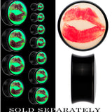 Red Hot Lips Glow in the Dark Saddle Plug in Black Acrylic