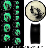 Howling Wolf Glow in the Dark Saddle Plug in Black Acrylic