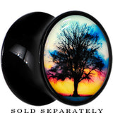 Sunset Tree Glow in the Dark Saddle Plug in Black Acrylic
