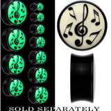 Music Notes Glow in the Dark Saddle Plug in Black Acrylic