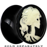Skeleton Cameo Glow in the Dark Saddle Plug in Black Acrylic