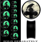 Black Raven on Cross Glow in the Dark Saddle Plug in Black Acrylic