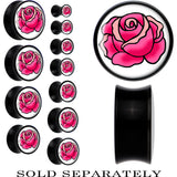 Tattoo Inspired Acrylic Pink Blooming Rose Saddle Plug