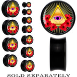 Gold Pyramid All Seeing Eye Saddle Plug in Black Acrylic