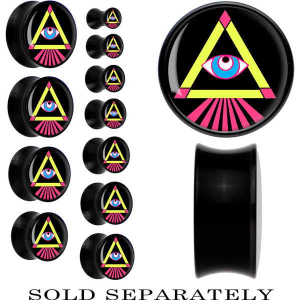 Pink Yellow Neon Pyramid All Seeing Eye Saddle Plug in Black Acrylic
