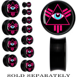 Pink Neon Pyramid All Seeing Eye Saddle Plug in Black Acrylic