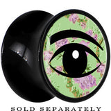 Mint Green Vintage Floral Wise Eye Saddle Plug in Black Acrylic
