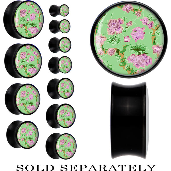 Mint Green Vintage Floral Saddle Plug in Black Acrylic