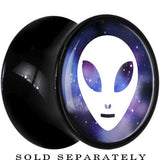 Galaxy and White Alien Head Saddle Plug in Black Acrylic