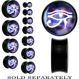 Galaxy and White Eye of Horus Saddle Plug in Black Acrylic