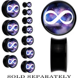 Galaxy and White Infinity Sign Saddle Plug in Black Acrylic