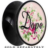 Pink Floral Dope Saddle Plug in Black Acrylic