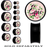 Pink Floral Epic Saddle Plug in Black Acrylic