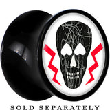 Heart Eyes Lightning Black Skull Saddle Plug in Black Acrylic