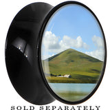 View of the Mountain Saddle Plug in Black Acrylic
