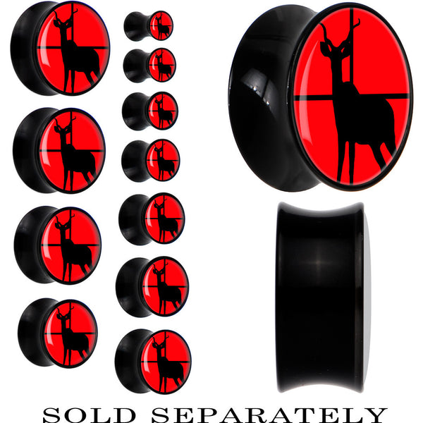 Deer in Crosshairs Saddle Plug in Black Acrylic