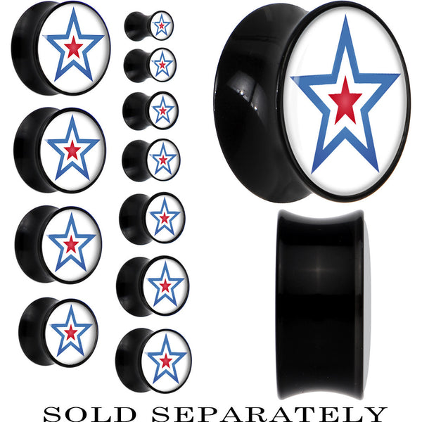 Red White Blue Hero Star Shield Saddle Plug in Black Acrylic