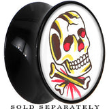 Avant Garde Colorful Skull Saddle Plug in Black Acrylic