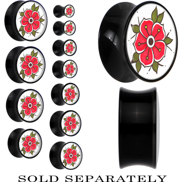 Colorful Blooming Flower Saddle Plug in Black Acrylic