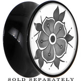 Gray Blooming Flower Saddle Plug in Black Acrylic