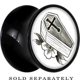 Coffin and Flower Saddle Plug in Black Acrylic