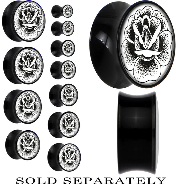 Arty Stippled Rose Saddle Plug in Black Acrylic