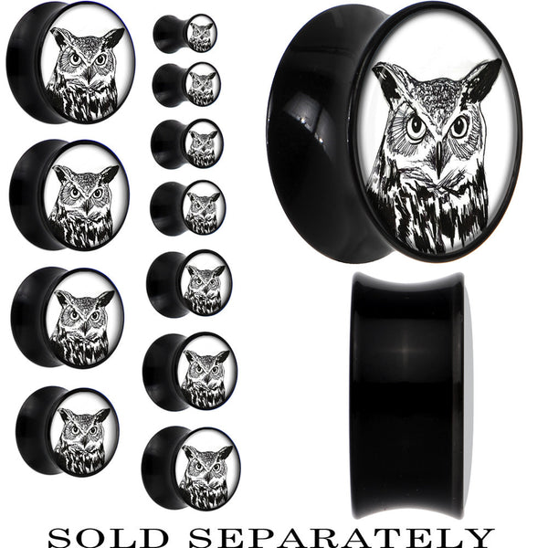 Arty Horned Owl Saddle Plug in Black Acrylic