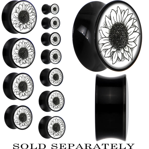 Arty Sunflower Saddle Plug in Black Acrylic