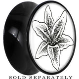 Arty Lily Flower Saddle Plug in Black Acrylic