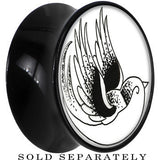 Arty Flying Bird Saddle Plug in Black Acrylic