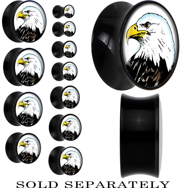 Proud Bald Eagle Saddle Plug in Black Acrylic