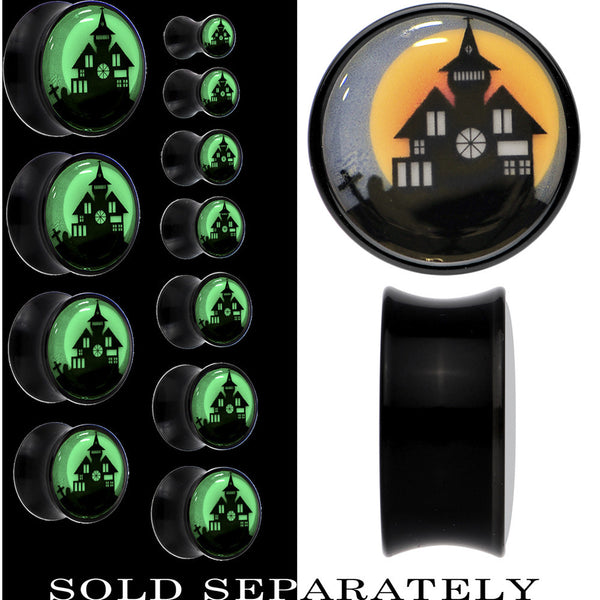 Haunted House Glow in the Dark Saddle Plug in Black Acrylic