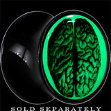 Dissected Brain Glow in the Dark Saddle Plug in Black Acrylic