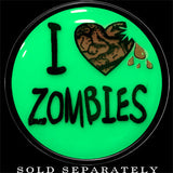 I Heart Zombies Glow in the Dark Saddle Plug in Black Acrylic