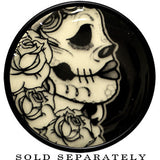 Katrina Sugar Skull Glow in the Dark Saddle Plug in Black Acrylic