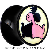 Loving Dinosaurs Glow in the Dark Saddle Plug in Black Acrylic