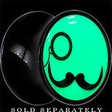 Monocle Mustache Glow in the Dark Saddle Plug in Black Acrylic