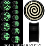 Hypnotic Swirl Glow in the Dark Saddle Plug in Black Acrylic